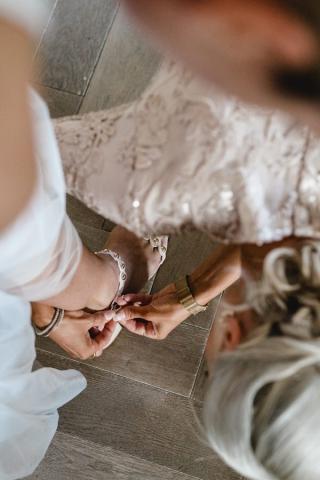 Braut Getting Ready Hochzeit Hochzeitsschuhe